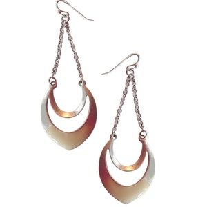 "3"" Drop Earrings Burnished Silver Ivory Enamel NEW"